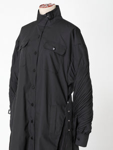Twist sleeve shirts coat Black
