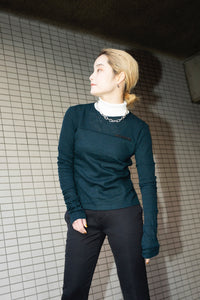 Wool color Mix turtleneck knit