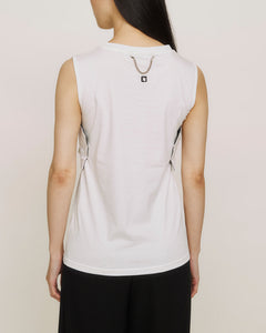 Art embroidered sleeveless origami tops