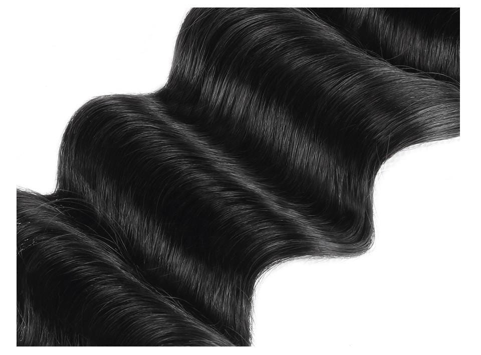 10A Grade Human Hair Loose Deep Wave Hair Bundles with Lace Closure Virgin Hair Extensions