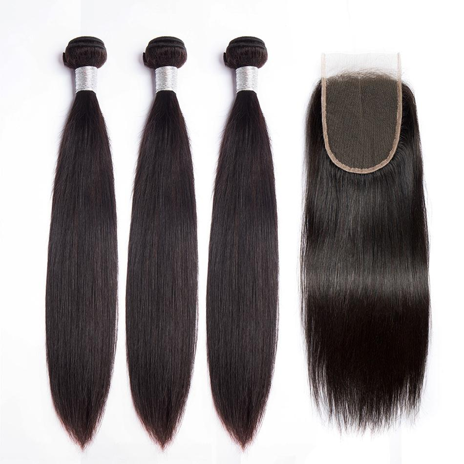 10A Top Quality Human Hair Bundles with Lace Closure Straight Hair Wefts