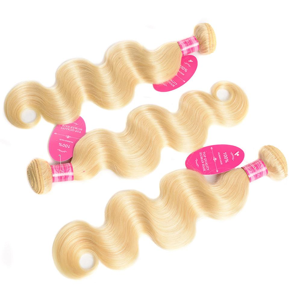 3 Bundles Human Hair Wefts Blonde Color Brazilian Human Hair Bundles Body Wave Virgin Hair Wefts