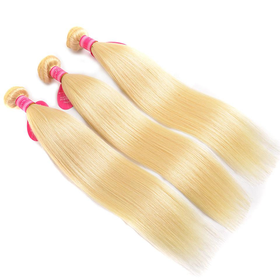 3 Bundles Human Hair Wefts Blonde Color Brazilian Human Hair Bundles Straight Virgin Hair Wefts
