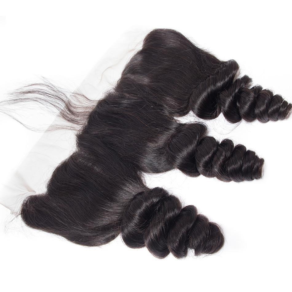 Human Hair 13x4 Lace Frontal Loose Wave 10A Grade Brazilian Hair Natural Color Lace Frontal