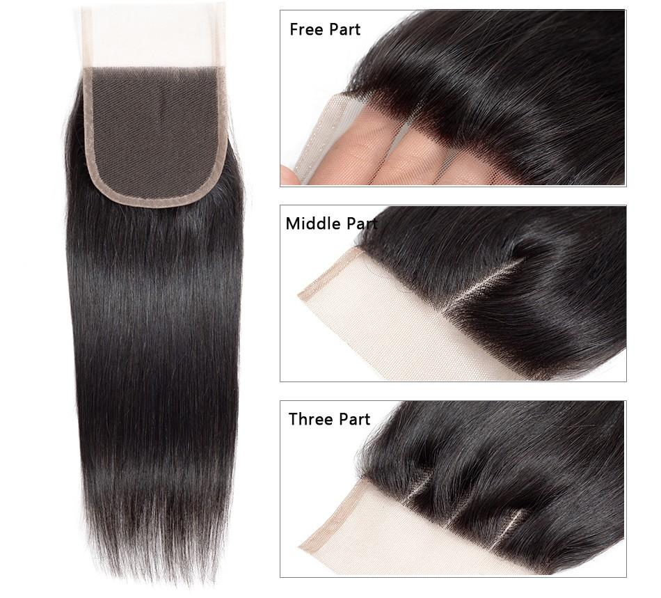 Human Hair Lace Closure Straight Brazilian Virgin Hair Lace Closure 5x5 Lace Closure