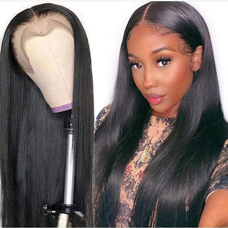 Human Hair Lace Front Wig 130% Density Straight Hair Medium Part 13x4 Lace Wig