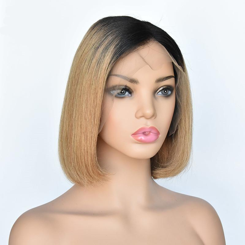 Human Hair Lace Wig 150% Density Ombre #1B/27 Hair 13x4 Lace Front Wig