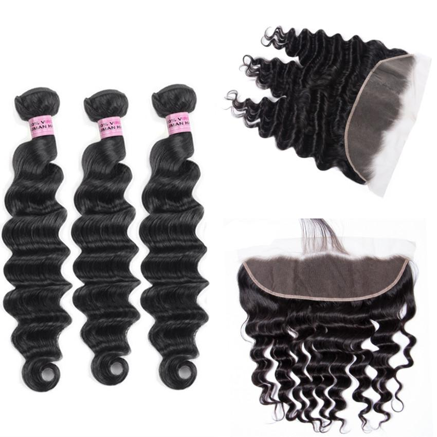 Human Hair Wefts with 13x4 Lace Frontal Loose Deep Wave Hair Brazilian Virgin Hair Extensions