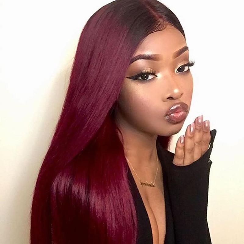 Ombre 1B/99J Color Lace Wig 130% Density Human Hair Lace Front Wigs Straight Hair