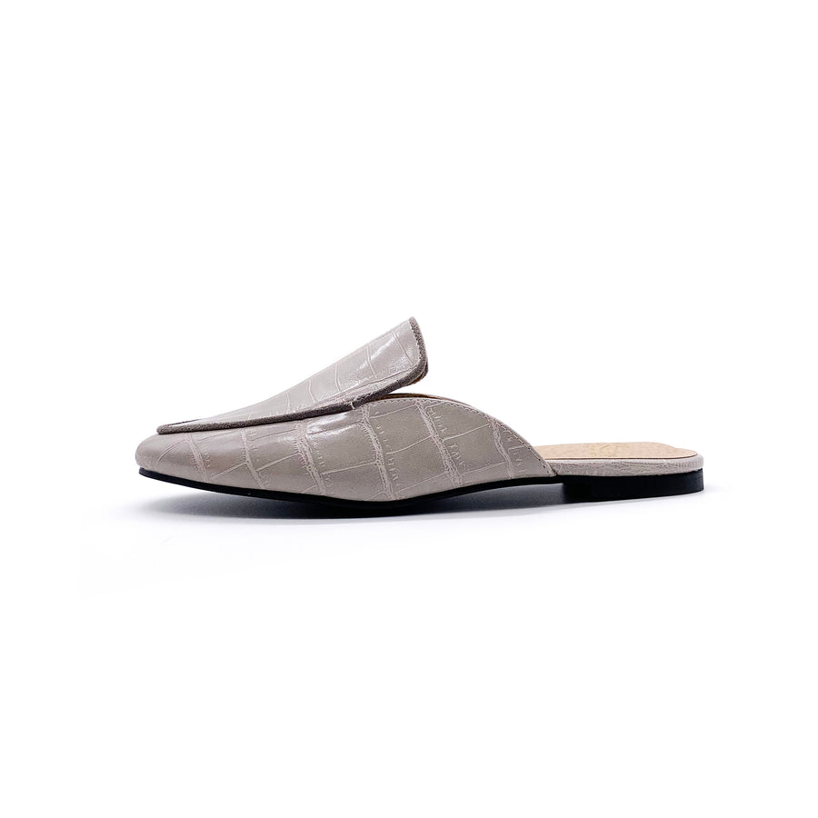 Kroco Leather Slippers - Grey