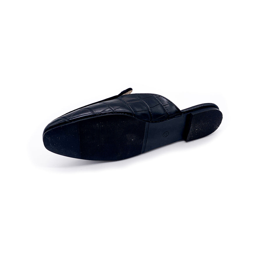 Kroco Leather Slippers - Black