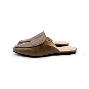 Kroco Leather Slippers - Khaki