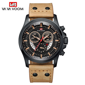 Military Men's Watches Top Brand Luxury Wrist Watch Unique Leather