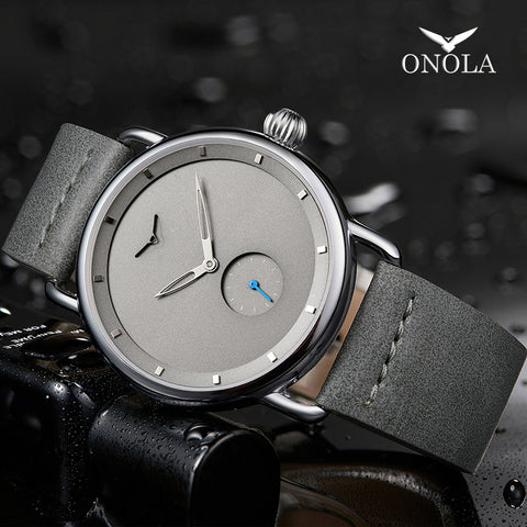Casual watch men brand ONOLA quartz wristwatch simple waterpoor leather man