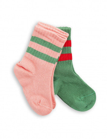 Stripe Socks - 2 Pack Pink/Green