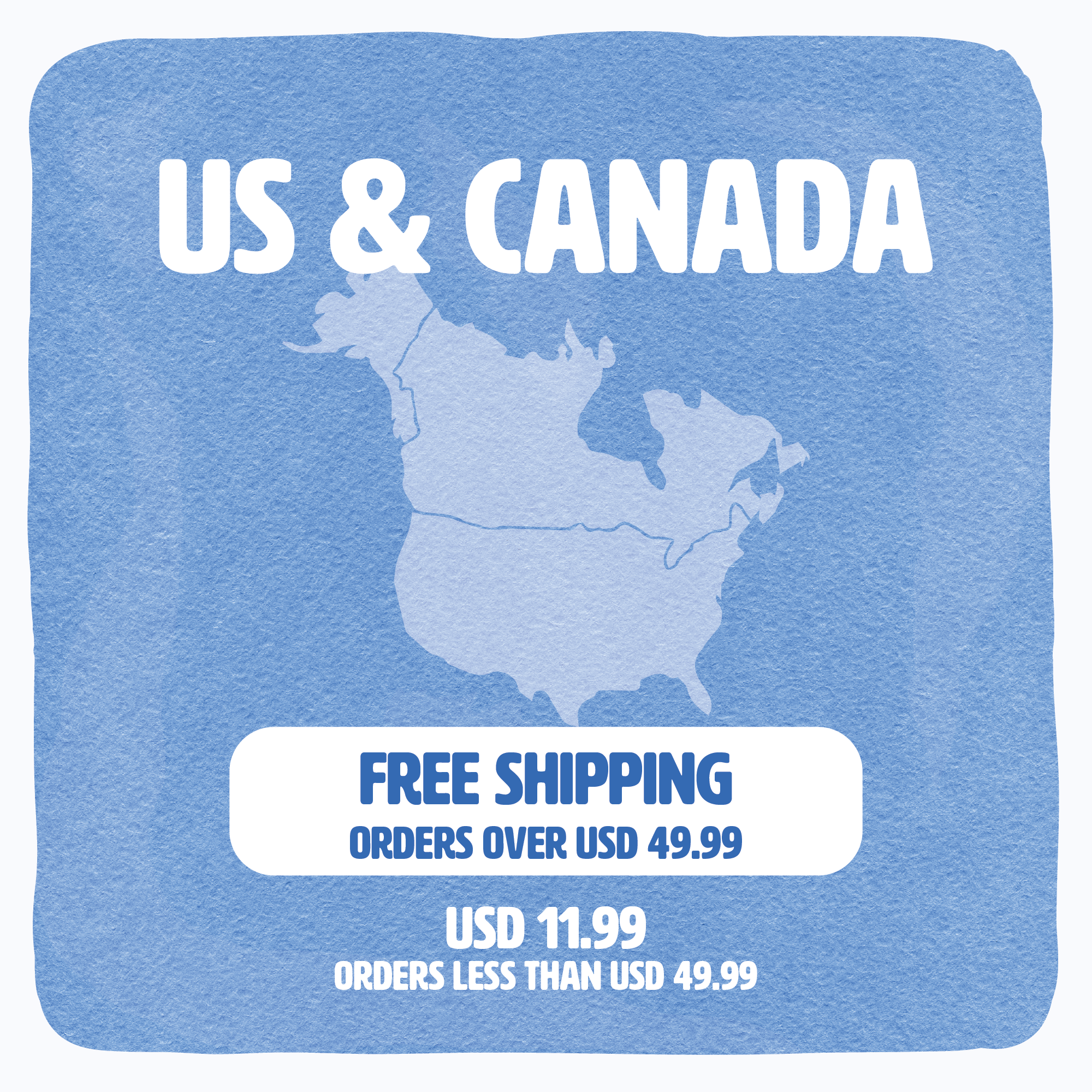 Shipping availability & conditions banner for US & Canda