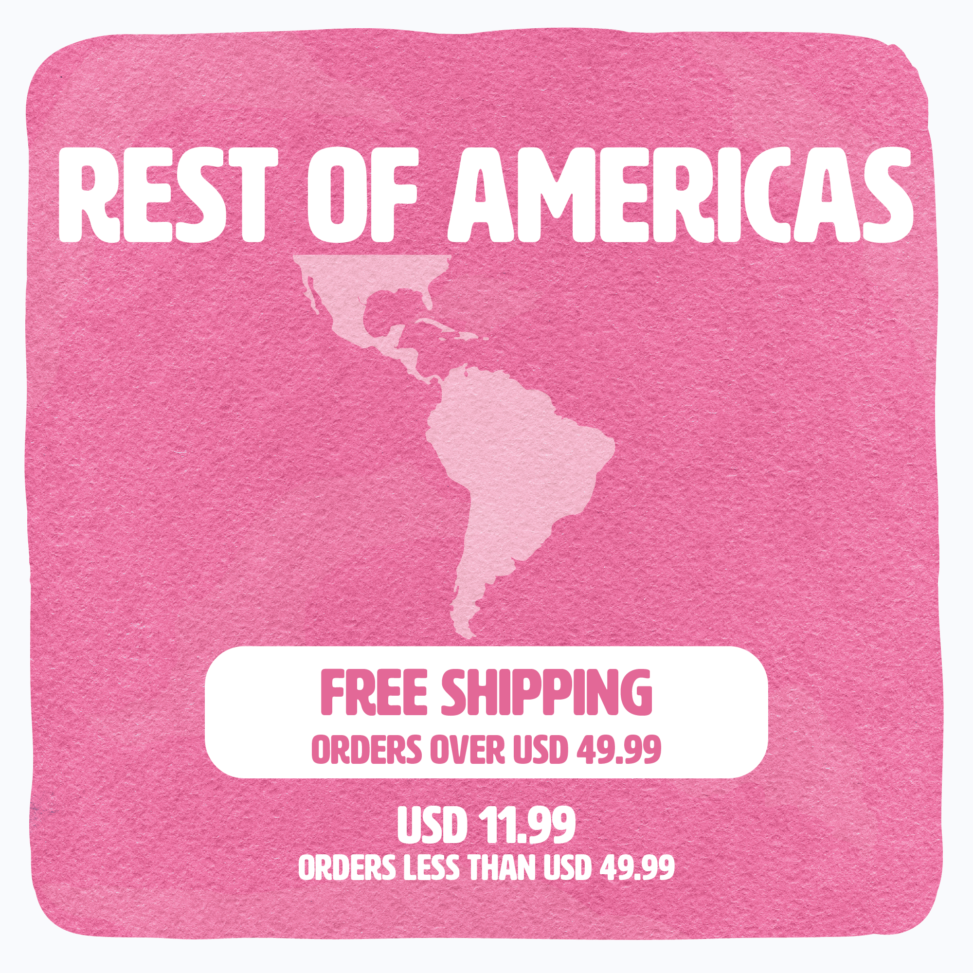 Shipping availability & conditions banner for Rest of Americas