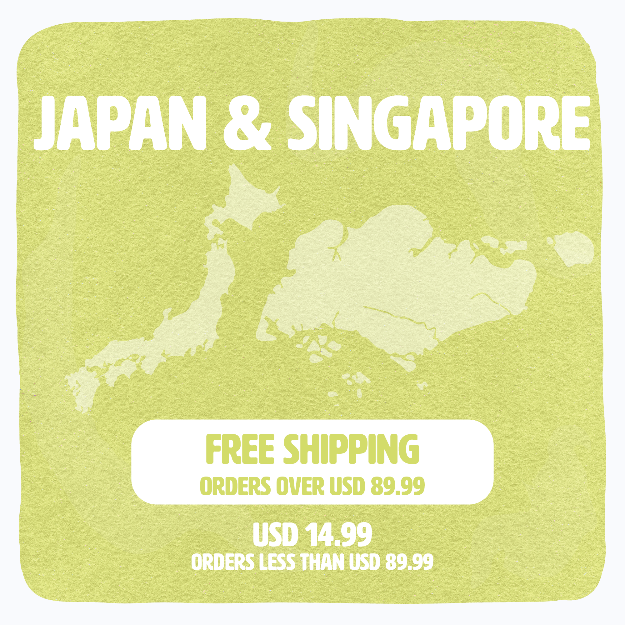 Shipping availability & conditions banner for Japan & Singapore