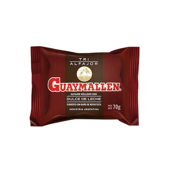 Guaymallen Triple Black Chocolate Alfajor with Dulce de Leche, 70 g / 2.5 oz (pack of 6)