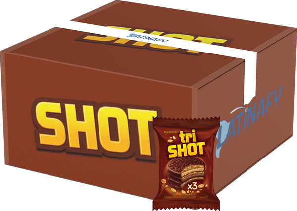 Trishot Triple Alfajor with Peanut Butter and Chocolate Mousse, 60 g / 2.1 oz (Box of 36)