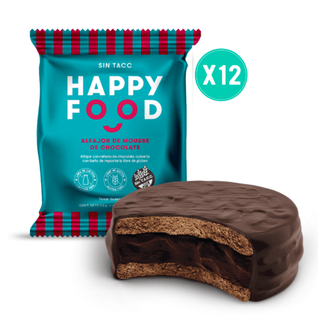 Happy Food Alfajor de Mousse de Chocolate, 50g Gluten Free x12