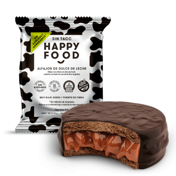 Happy Food Alfajor Dulce de Leche Sin Azucar Agregado, 50g Apto Diabeticos x12