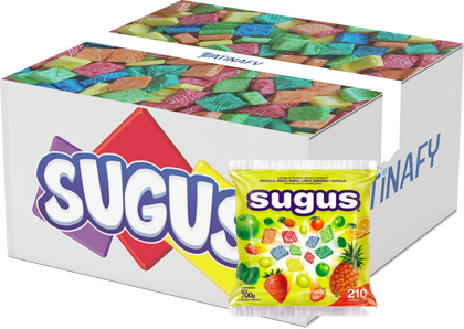 Soft Candy Blocks Assorted Flavors Strawberry, Orange, Pineapple, Mint, Lemon & Green Apple, Gluten-Free, 700 g / 24.7 oz bag - Box of 16