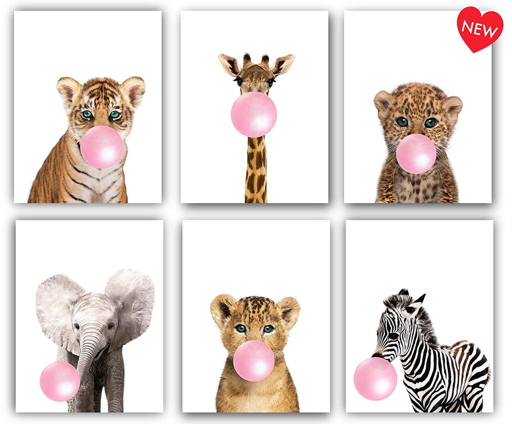 Safari Pink Bubblegum Baby Animals Nursery Decor Art - UNFRAMED (8x10)