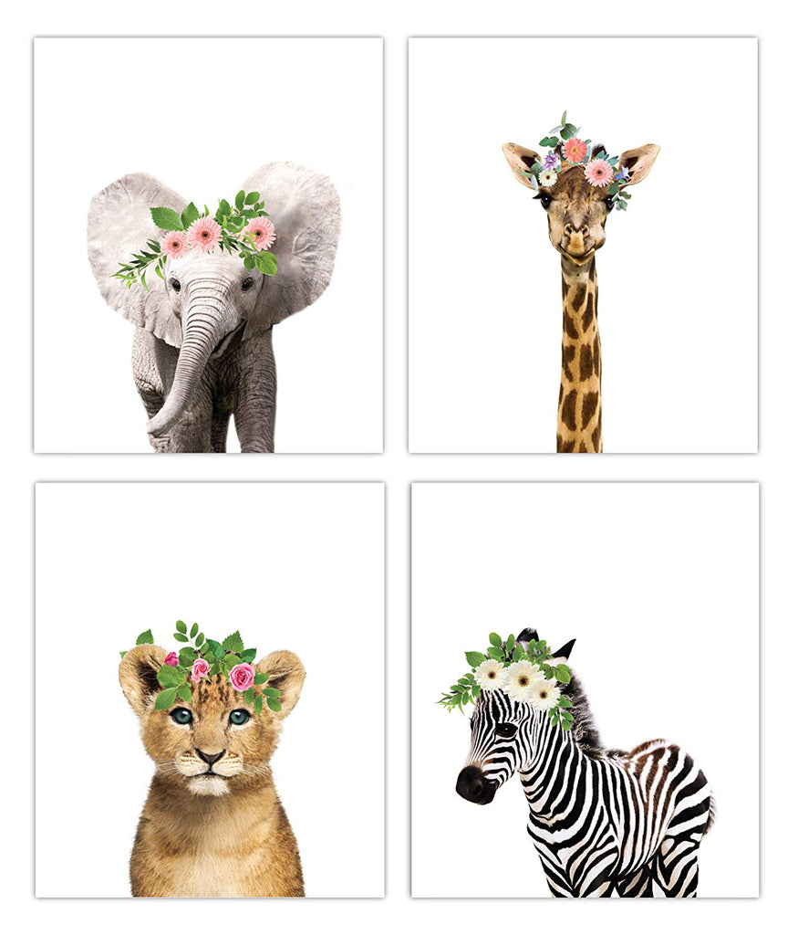 Safari Floral Crown Nursery Decor Art - UNFRAMED (8x10)