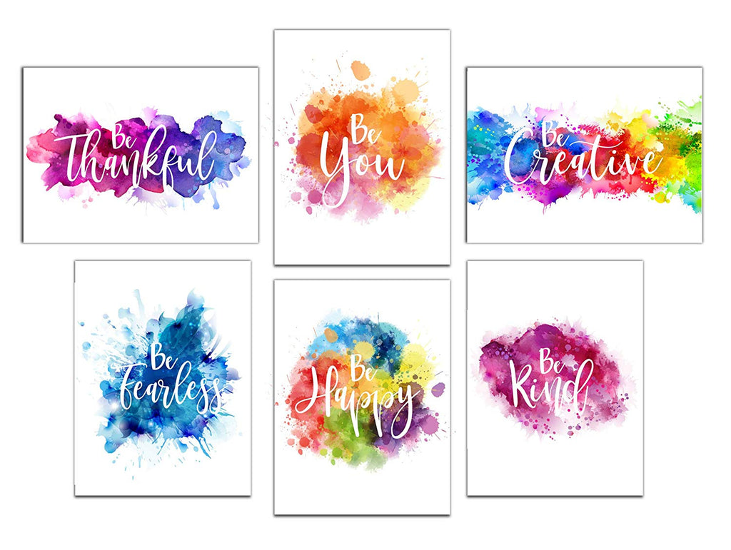 Colorful Abstract Paint Splats Inspirational Wall Art Prints