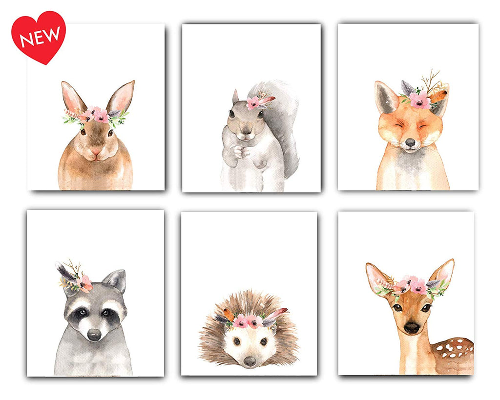 Woodland Animals Nursery Decor Watercolor Art - Set of 6