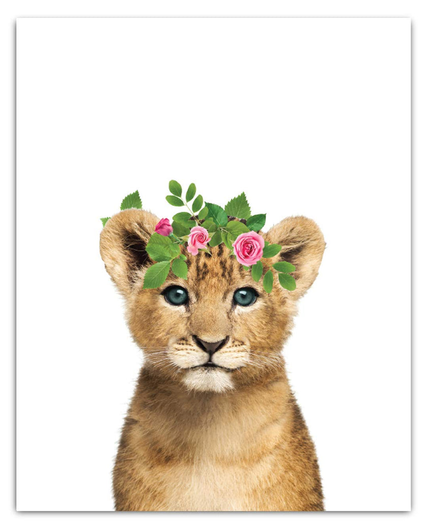 Safari Floral Crown Nursery Decor Art