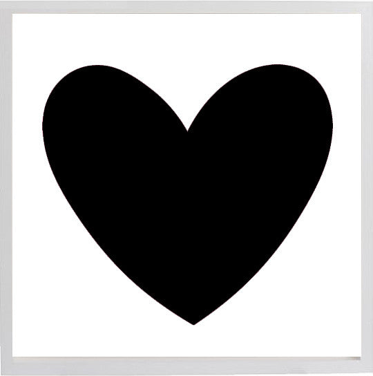 "Large Black Heart 19 3/4""x 19 3/4"" print"