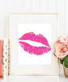 Hot Pink Lips Poster | Kiss Art | Pink Lip