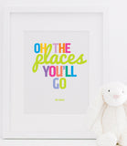 Oh The Places You'll Go Poster Print | Dr. Seuss Typographic Print