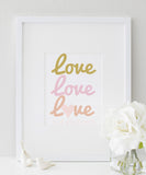 Love Love Love Is All You Need Quote | Love Typography Art