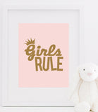 Faux Gold Empowering Girls Rule Bedroom Wall Prints