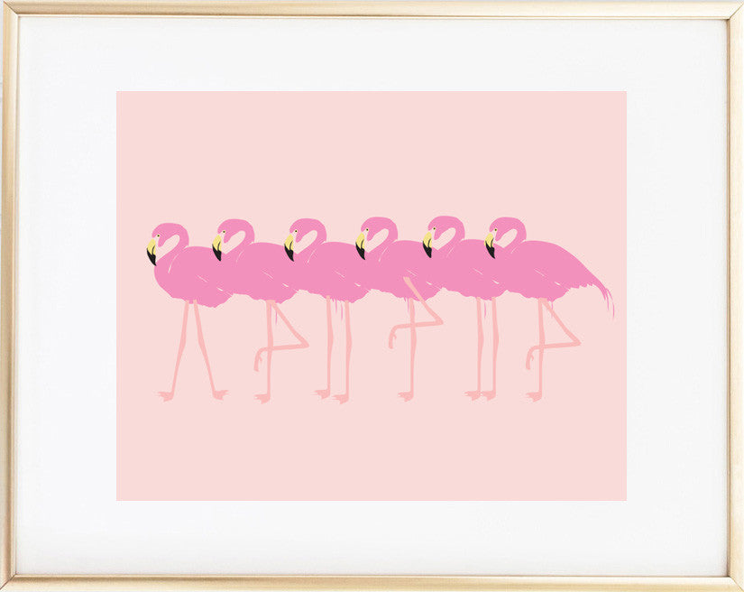 Three Pink Flamingos print