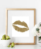 Gold Lips Print | Kiss Print