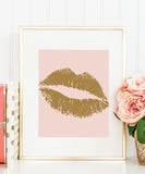 Lips Print | Kiss Print | Gold Lips