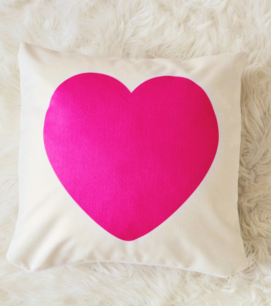 Hot Pink Heart Canvas Pillow Cover 18 x 18