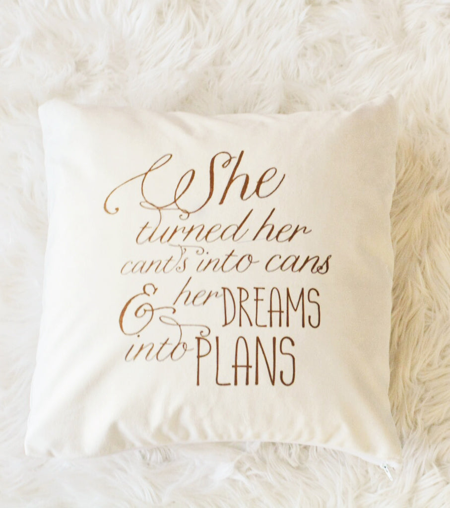 She Quote Velveteen Pillow Cover 18 x 18