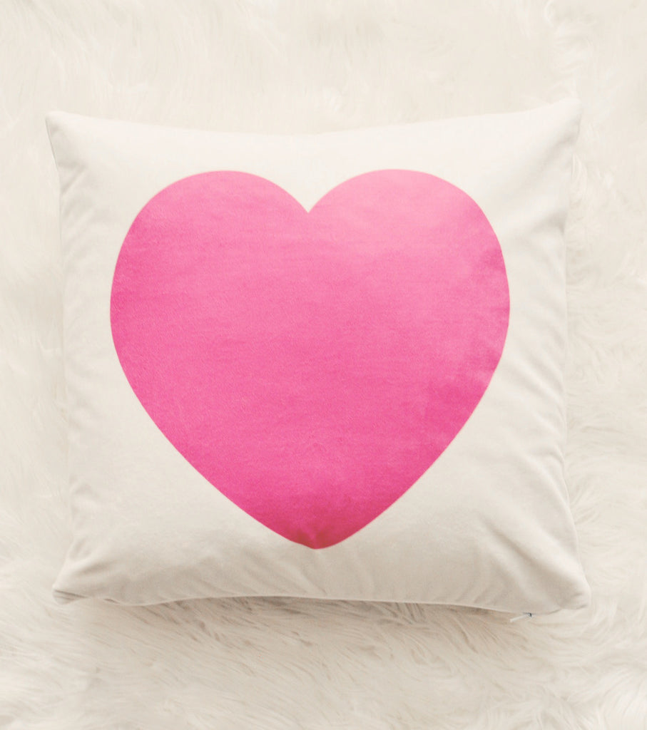 Soft Pink Heart Velveteen Pillow Cover 18 x 18