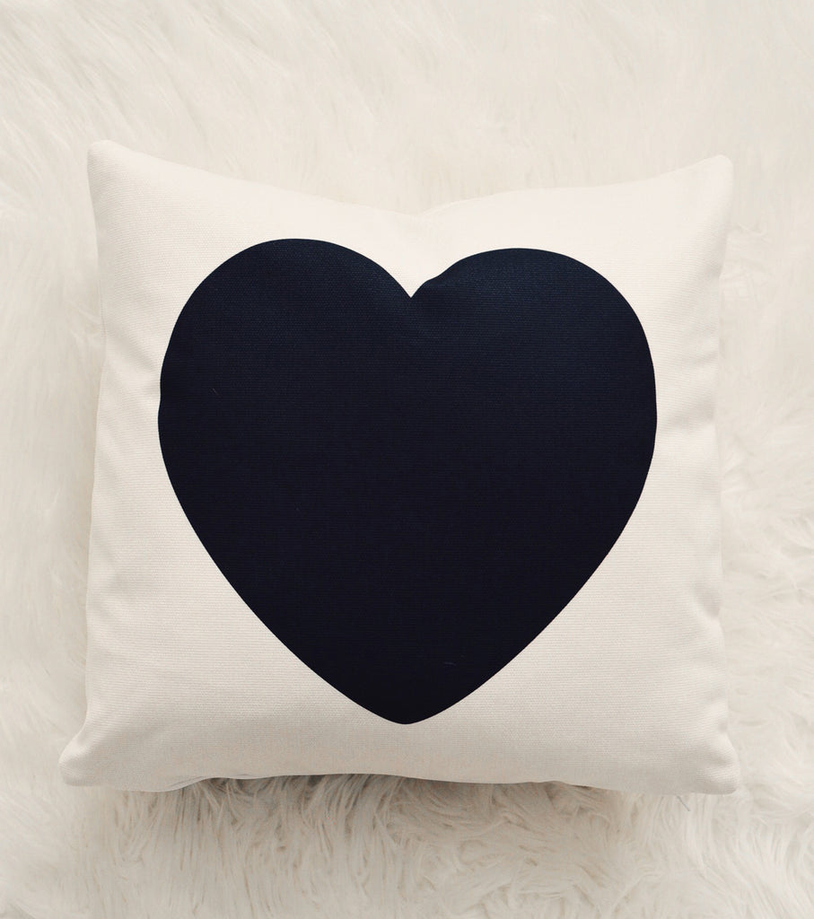 Black Heart Canvas Pillow Cover 18 x 18
