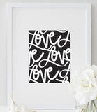 Love Poster (Black and White) | Love Artwork Print
