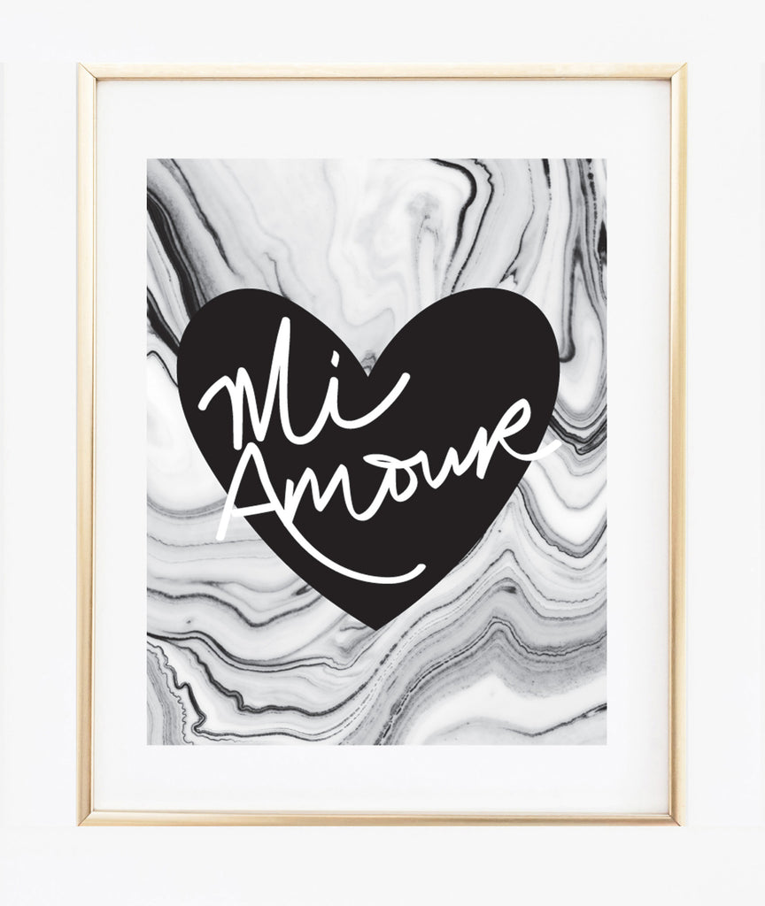 Mi Amour Heart | Marble background print