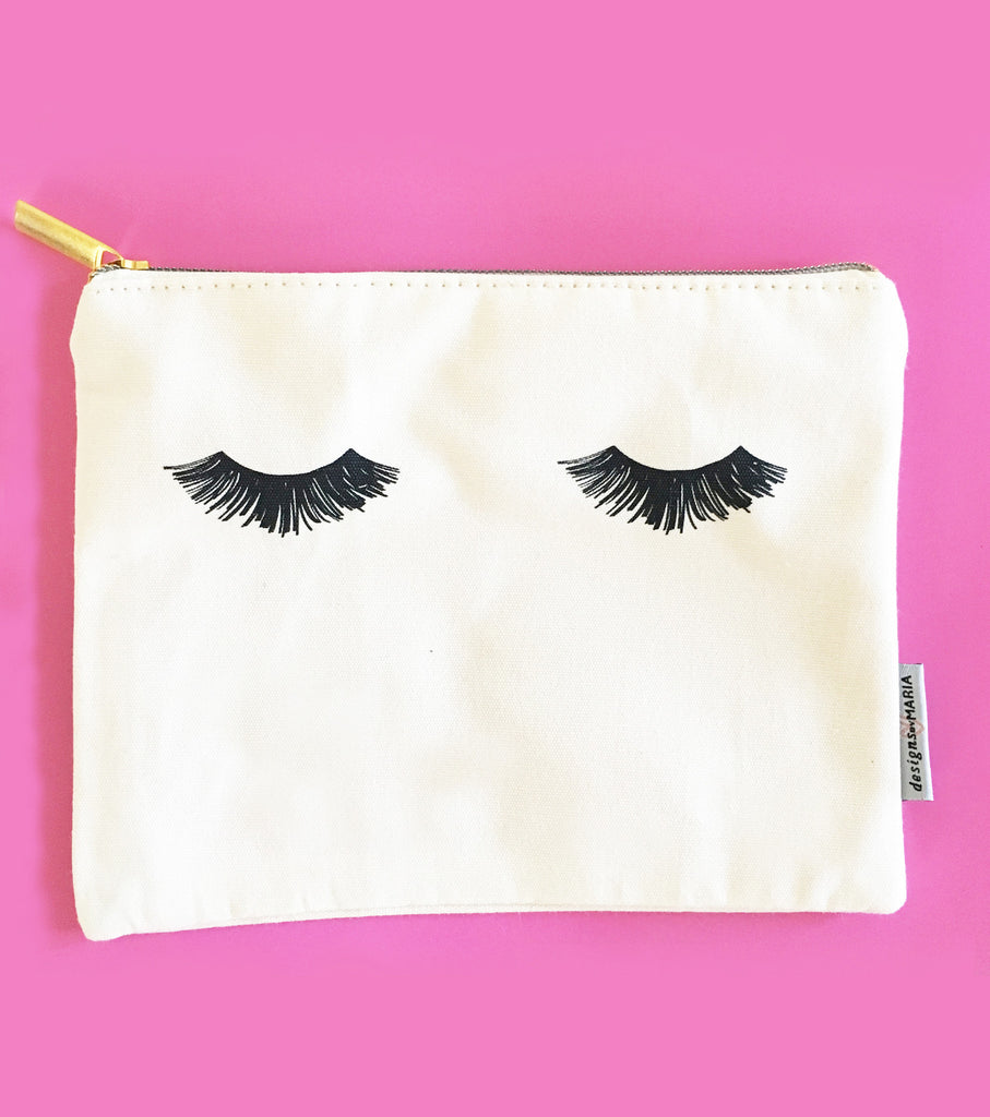 Eyelashes Cosmetic Zip Pouch