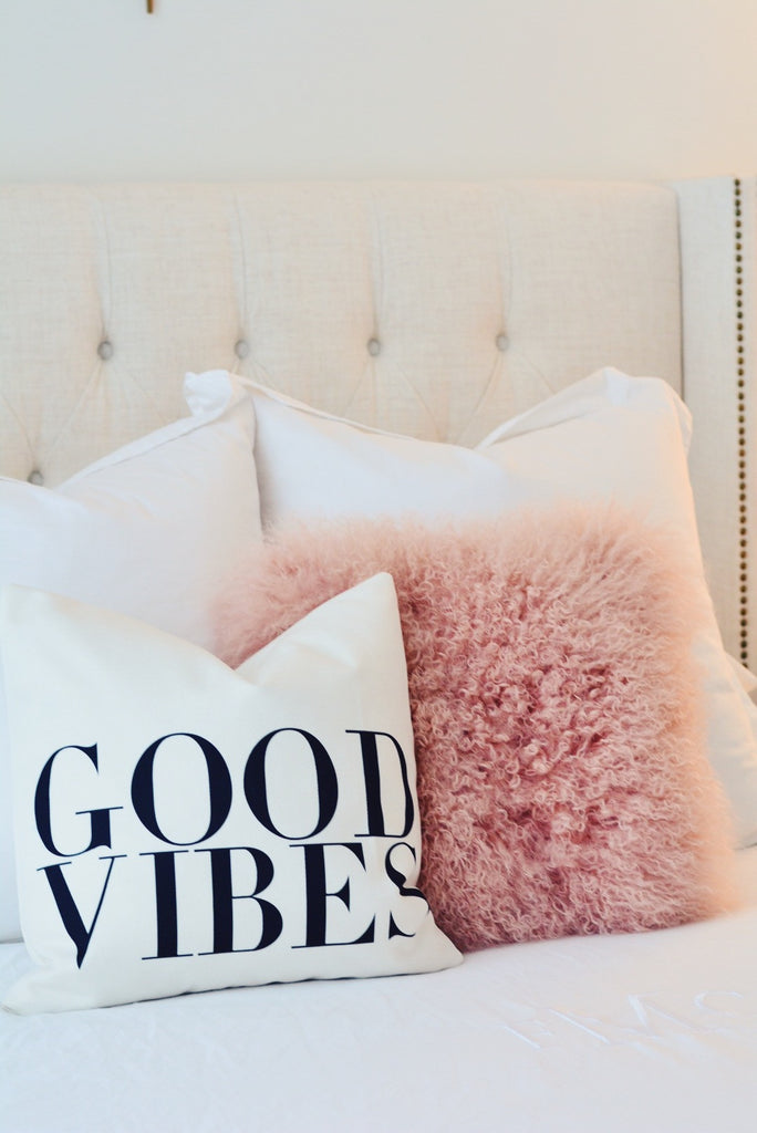 Good Vibes Canvas Pillow Cover 18 x 18