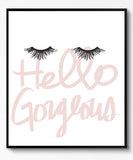 HELLO GORGEOUS EYELASHES (BLACK FRAMED PRINT)