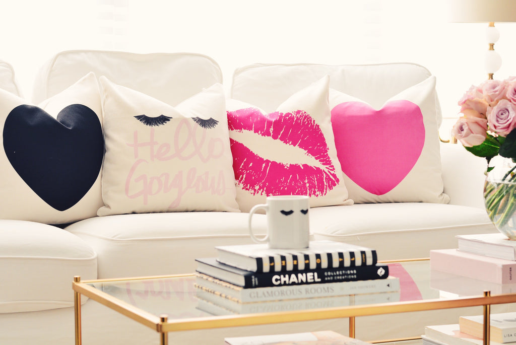 Hot Pink Lips Canvas Pillow Cover 18 x 18